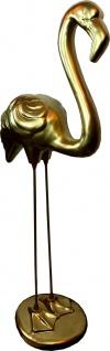 Casa Padrino Dekofigur Flamingo Gold H. 119 cm - Wetterbeständige Deko Skulptur - Wohnzimmer Deko - Garten Deko - Deko Tierfigur