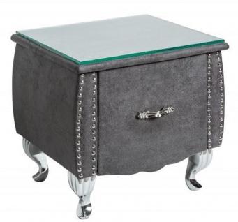 Casa Padrino Art Deco Nachttisch mit Schublade und Glasplatte Antik Grau / Silber 47 x 41 x H. 45 cm - Schlafzimmermöbel