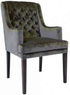 Casa Padrino Designer Esszimmer Stuhl mit Armlehnen ModEF 309 Taupe / Braun - Hoteleinrichtung - Buchenholz - Chesterfield Design - Vorschau 2
