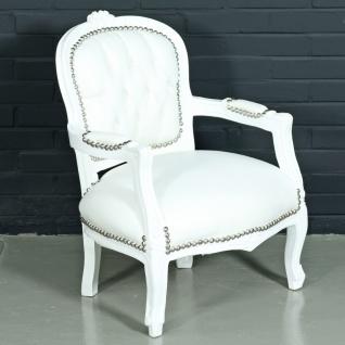 Casa Padrino Barock Kinderstuhl Weiß Lederoptik / Weiß - Kindermöbel im Antik Stil - Vorschau 2