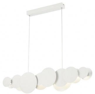 Casa Padrino Designer LED Hängeleuchte Weiß / Silber 82 x 8 x H. 38 cm - Luxus Pendelleuchte