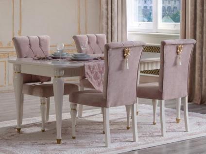Casa Padrino Luxus Barock Esszimmer Set Rosa / Weiß / Gold - 1 Esstisch & 6 Esszimmerstühle - Barock Esszimmer Möbel