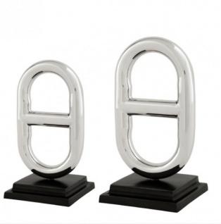 Casa Padrino Luxus Dekoration 2er Set Nickel Finish Buckle aus der Luxus Kollektion von Casa Padrino