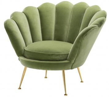 Casa Padrino Luxus Sessel Hellgrün / Messing 96, 5 x 79 x H. 78 cm - Designer Hotel Möbel