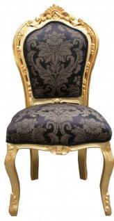 Casa Padrino Barock Esszimmer Stuhl Schwarz Muster / Gold - Antik Möbel