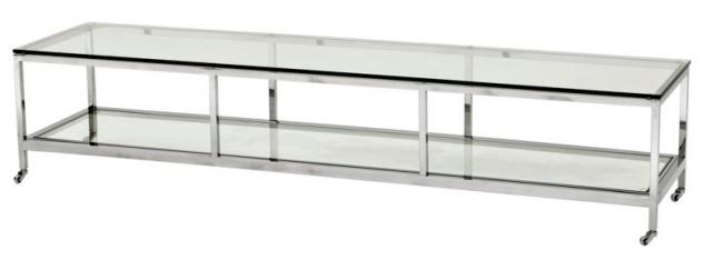 Casa Padrino Luxus Art Deco Designer Couchtisch Edelstahl poliert mit Glas 190 x 45 cm - Luxus Kollektion - Beistelltisch