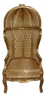 Casa Padrino Barock Thron Sessel Victory Gold Muster / Gold - Balloon Chair -Thron Stuhl Tron - Vorschau 1