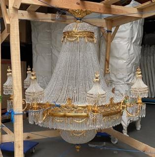Casa Padrino Luxus Barock Kristall Kronleuchter Gold Ø 160 x H. 160 cm - Prunkvoller Kronleuchter im Barockstil - Barock Kristall Leuchten