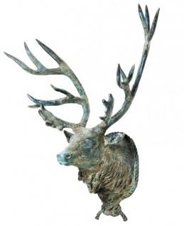 Riesiger Massiver Luxus Hirschkopf Höhe: 130 cm, Breite: 110 cm, Tiefe: 5 cm edle Skulptur aus Aluminium, antik silver green finish - Edel & Prunkvoll - Hirsch - Geweih