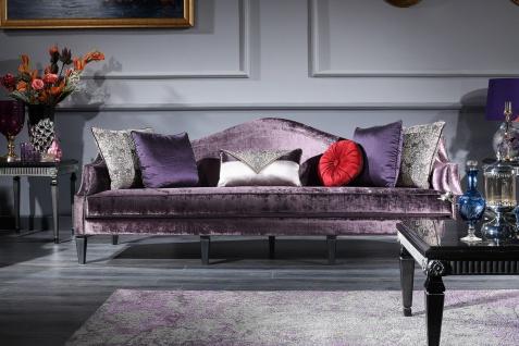 Casa Padrino Luxus Barock Wohnzimmer & Esszimmer Set Lila / Schwarz / Silber - Barockmöbel - Vorschau 3