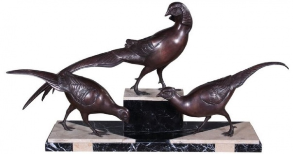 Casa Padrino Luxus Deko Bronzefiguren 3 Fasane Bronze / Schwarz / Weiß 84 x 20 x H. 42 cm - Dekofiguren mit Marmorsockel