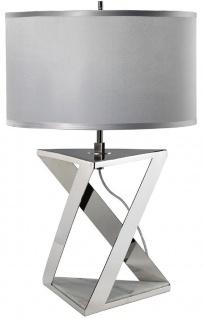 Casa Padrino Luxus Tischleuchte Silber / Weiß / Grau Ø 32 x H. 70 cm - Moderne Tischlampe mit rundem Kunstseide Lampenschirm - Luxus Kollektion - Vorschau 2