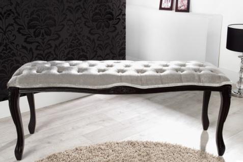 Casa Padrino Barock Sitzbank Silbergrau / Schwarz Breite 115 cm, Höhe 45 cm - Antik Stuhl