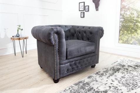 Casa Padrino Chesterfield Sessel Antikgrau - Lounge Sessel ...