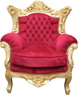 Casa Padrino Barock Wohnzimmer Set Bordeaux /Gold - 3er Sofa+2er Sofa + 1 Sessel - Vorschau 3