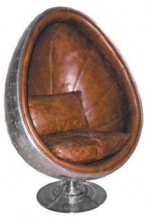 Casa Padrino Echtleder Egg Chair Sessel Silber / Braun 90 x 86 x H. 138 cm - Luxus Drehsessel