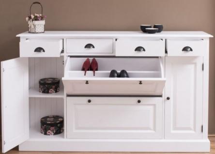 Casa Padrino Landhausstil Massivholz Schrank Weiß 176 x 35 x H. 105 cm - Sideboard - Kommode - Schuhschrank - Dielenschrank - Landhausstil Möbel