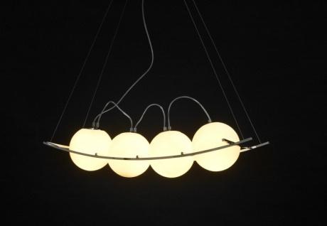 Designer Pendelleuchte aus getöntem Glas, Weiss/Silber, Leuchte Lampe