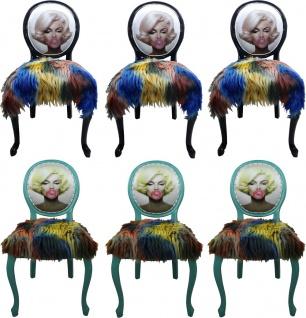 Casa Padrino Luxus Barock Esszimmer Set Marilyn Monroe Bubble Gum Crazy Mehrfarbig ( 6 Esszimmer Stühle) - Vorschau 1