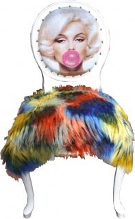 Casa Padrino Luxus Barock Esszimmer Stuhl Marilyn Monroe Bubble Gum Crazy mit Kunstfell Mehrfarbig / Schwarz / Weiß 50 x 60 x H. 104 cm - Handgefertigter Pop Art Designer Stuhl