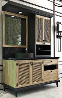 Casa Padrino Luxus Landhausstil Badezimmer Set Naturfarben / Schwarz - Beleuchteter Waschtisch mit 4 Türen und 2 Schubladen und 1 Waschbecken und 1 Wandspiegel - Landhausstil Badezimmermöbel