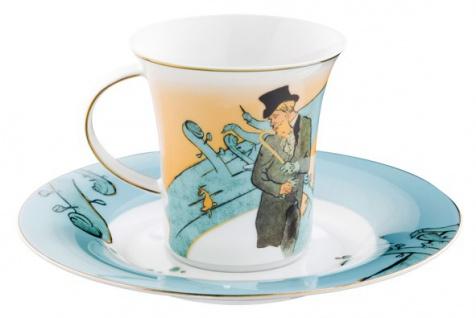 """Handgearbeitete Kaffeetasse aus Porzellan mit einem Motiv von T. Lautrec """" Divan Japonais"""" 0, 21 Ltr. - feinste Qualität aus der Tettau Porzellanfabrik - wunderschöne Tasse - Vorschau 2"""