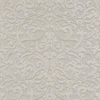 Casa Padrino Barock Textiltapete Silber / Weiß - 10, 05 x 0, 53 m - Stofftapete mit strukturierter Oberfläche