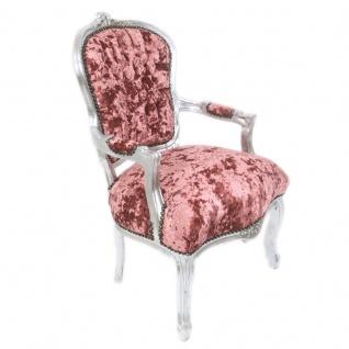 Casa Padrino Barock Salon Stuhl Bordeaux Velour Stoff / Silber 60 x 50 x H. 93 cm - Antik Design Möbel