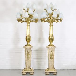 Casa Padrino Barock Stand Kronleuchter mit Marmor Säulen Set Mod2 Creme / Gold - Edel & Prunkvoll