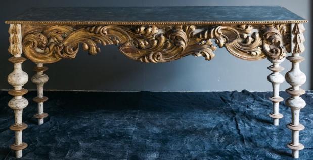 Casa Padrino Luxus Barock Konsole mit Marmorplatte Antik Weiß / Antik Gold / Schwarz 190 x 62 x H. 92 cm - Handgefertigter Antik Stil Konsolentisch