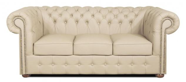 Casa Padrino Echtleder 3er Sofa Creme 200 x 90 x H. 78 cm - Luxus Chesterfield Sofa