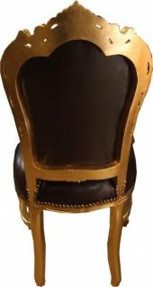 Casa Padrino Barock Esszimmer Stuhl Braun Glatt Lederoptik / Gold - Möbel - Vorschau 3
