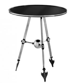 Casa Padrino Luxus Art Deco Designer Beistelltisch Antik Silber mit schwarzem Glas - Luxus Tisch