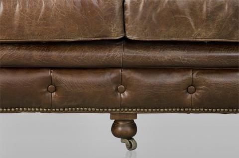 Chesterfield Luxus Echt Leder Sofa 3 Sitzer Vintage Leder von Casa Padrino Cigar - Vorschau 4