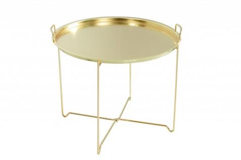Casa Padrino Couchtisch Klappbar - Tablett Gold B.56 cm x H.48 cm x T.56 cm - Wohnzimmer Salon Tisch