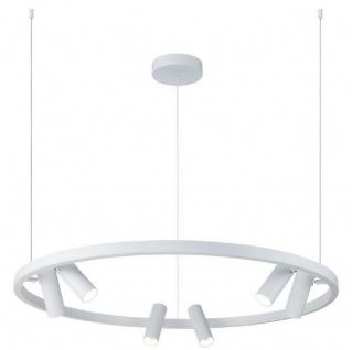 Casa Padrino Luxus Hängeleuchte Weiß Ø 90 cm - Runde Pendelleuchte mit verstellbaren LED Spots