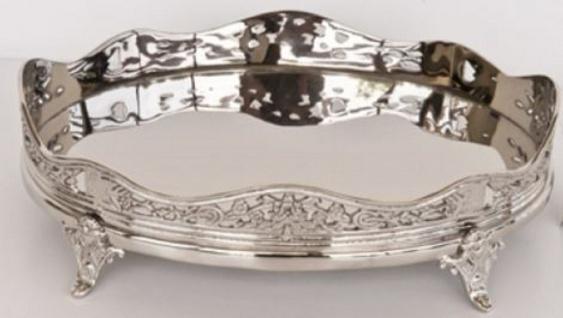 Casa Padrino Luxus Messing Serviertablett Oval Silber 32, 5 x 24 x H. 10 cm - Hotel & Restaurant Accessoires