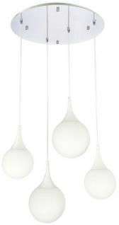 Casa Padrino LED Hängeleuchte Silber / Weiß Ø 52, 5 x H. 150 cm - Hängelampe mit Mattglas Lampenschirmen