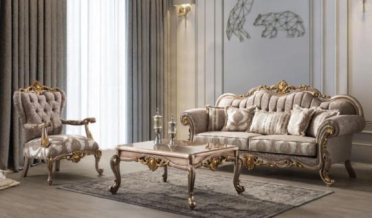 Casa Padrino Luxus Barock Wohnzimmer Set Grau / Silbergrau / Gold - 2 Sofas & 2 Sessel & 1 Couchtisch - Handgefertigte Wohnzimmer Möbel im Barockstil - Edel & Prunkvoll