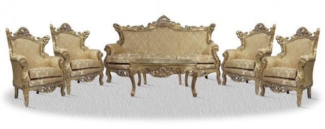 Casa Padrino Barock Sofa Set 3er Sofa 4 Sessel und Tisch mit Glasplatte - Barock Wohnzimmer