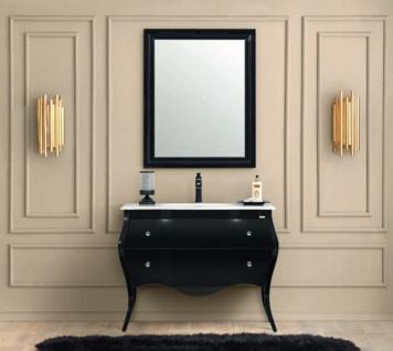 Casa Padrino Luxus Barock Badezimmer Set Schwarz / Weiß - 1 Waschtisch & 1 Waschbecken & 1 Wandspiegel - Badezimmer Möbel im Barockstil