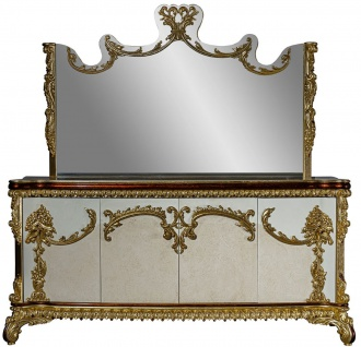 Casa Padrino Luxus Barock Möbel Set Sideboard mit Spiegel - Prunkvoller Massivholz Schrank mit Wandspiegel - Edle Möbel im Barockstil - Luxus Qualität - Vorschau 1