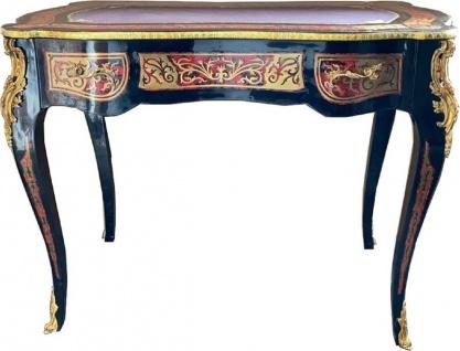 Casa Padrino Barock Boulle Sekretär im französischen Stil Schwarz / Rot / Gold - Handgefertigter Antik Stil Schreibtisch mit Schublade - Barock Büro Möbel