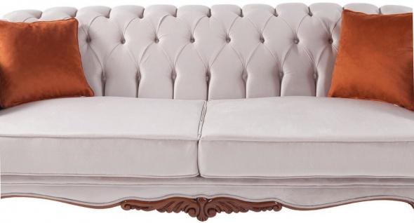 Casa Padrino Luxus Barock Wohnzimmer Sofa mit Kissen Hellgrau / Braun 240 x 102 x H. 80 cm - Barock Möbel - Vorschau 2