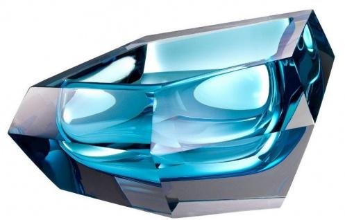 Casa Padrino Luxus Kristallglas Schüssel Blau 22 x 14 x H. 10, 5 cm - Designer Deko Schüssel - Deko Accessoires