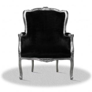 Casa Padrino Barock Salon Wohnzimmer Sessel Silber Schwarz 70 x 65 x H. 100 cm - Antik Stil Hotel Möbel