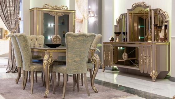 Casa Padrino Luxus Barock Esszimmer Set Grün / Gold / Grau - 1 Esstisch & 6 Esszimmerstühle - Prunkvolle Esszimmermöbel im Barockstil - Luxus Qualität - Vorschau 2