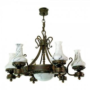 Casa Padrino Barock Schmiedeeisen Kronleuchter 6-Flammig Glas Hängeleuchte Lüster Hängelampe Deckenlampe - Burg Schloss Leuchter