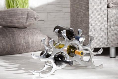 Designer Weinregal für 10 Flaschen aus poliertem Aluminium Höhe: 28 cm, Breite: 48 cm, Tiefe: 11cm - Flaschenhalter, Flaschenablage - Vorschau 2