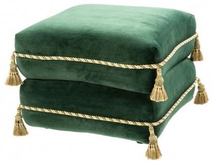 Casa Padrino Luxus Sitzhocker Dunkelgrün / Gold / Grün 57 x 57 x H. 42 cm - Edler Samt Hocker mit Troddeln - Luxus Möbel